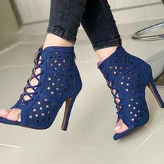 Vrouwen PU Stiletto Heel Sandalen Pumps Peep Toe met Effen kleur schoenen