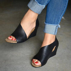 Vrouwen PU Wedge Heel Sandalen Wedges Peep Toe Hakken met Rits Hol-out schoenen