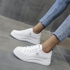 Vrouwen PU Flat Heel Flats Ronde neus met Vastrijgen Effen kleur schoenen