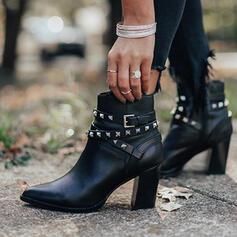Vrouwen Kunstleer Chunky Heel Enkel Laarzen Puntige teen met Klinknagel Rits schoenen