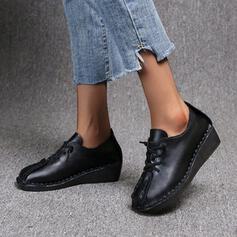 Vrouwen PU Wedge Heel Enkel Laarzen Ronde neus met Vastrijgen Effen kleur schoenen