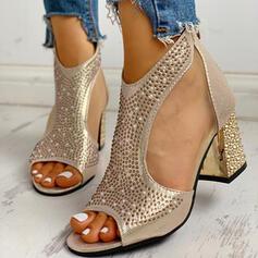 Vrouwen PU Chunky Heel Sandalen Pumps Peep Toe Hakken met Strass Rits schoenen