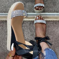 Vrouwen PU Wedge Heel Sandalen Wedges met Strass Vastrijgen schoenen