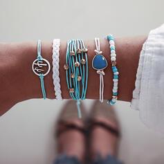 Kleurrijk Boho Aantrekkelijk Gelaagd Legering met Plastic kralen Armbanden 5 STUKS