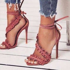Vrouwen PU Stiletto Heel Sandalen Pumps Peep Toe met Vastrijgen Hol-out schoenen