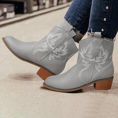 Vrouwen PU Chunky Heel Enkel Laarzen Ronde neus met Rits Floral Print schoenen