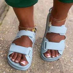 Vrouwen PU Flat Heel Sandalen Flats Peep Toe met Hol-out Velcro schoenen