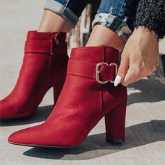 Vrouwen Suede Chunky Heel Enkel Laarzen Puntige teen met Gesp Rits Effen kleur schoenen
