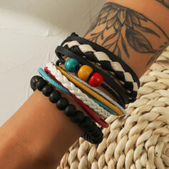 Chic Boho Gelaagd Kralen PU Uniseks Armbanden 3 STUKS