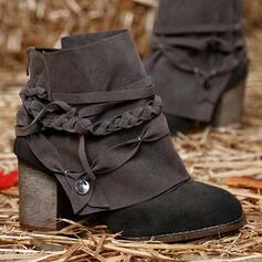 Vrouwen PU Chunky Heel Enkel Laarzen Martin Boots Ronde neus met Vastrijgen Enkelriempje schoenen