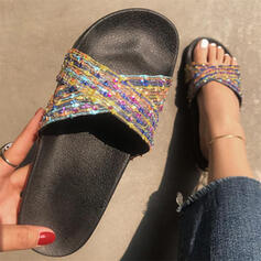 Vrouwen Leer Flat Heel Sandalen Flats Peep Toe Slippers met Lovertje Hol-out schoenen
