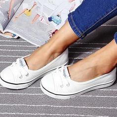 Vrouwen Zeildoek Flat Heel Flats Ronde neus Aantrekken met Vastrijgen schoenen