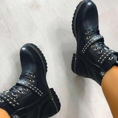 Vrouwen PU Chunky Heel Martin Boots Ronde neus met Gesp Vastrijgen schoenen