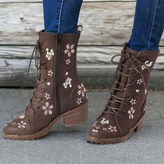 Vrouwen PU Chunky Heel Half-Kuit Laarzen Martin Boots Ronde neus met Rits Floral Print schoenen