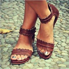 PU Flat Heel Sandalen Flats Peep Toe met Anderen schoenen