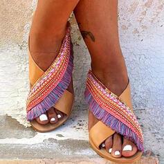 Vrouwen PU Flat Heel Sandalen Peep Toe Slippers met Tassel Las kleur schoenen