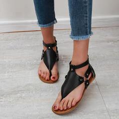 Vrouwen PU Flat Heel Sandalen Flats Peep Toe Flip Flops met Klinknagel Gesp Effen kleur schoenen