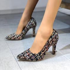 Vrouwen Stof Chunky Heel Puntige teen met Gevlochten Riempje schoenen