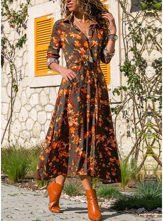Print/Bloemen Lange Mouwen A-lijn Shirt Casual Medium Jurken