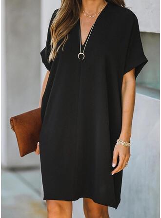 Solide Korte Mouwen Shift Knielengte Zwart jurkje/Casual Jurken