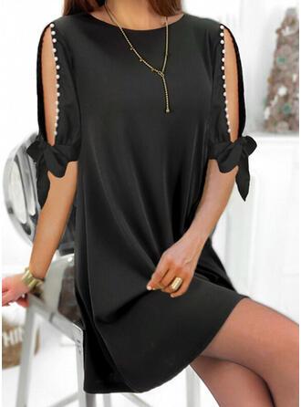 Solide/Met Kralen 1/2 Mouwen Shift Boven de knie Zwart jurkje/Elegant Jurken