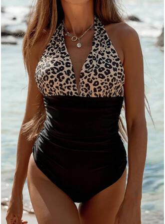 Luipaard Splice kleur Halter V-hals Sexy Badpakken Badpakken