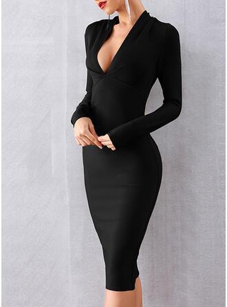Solide Lange Mouwen Bodycon Knielengte Zwart jurkje/Feest/Elegant Potlood Jurken