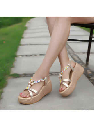 Vrouwen PU Wedge Heel Sandalen Wedges Peep Toe met Kralen Hol-out schoenen