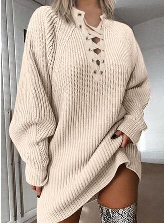 Solide Grof gebreid V-hals Casual Lang Sweaterjurk