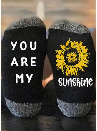 Letter/Hechten/Print Kwart sokken Sokken