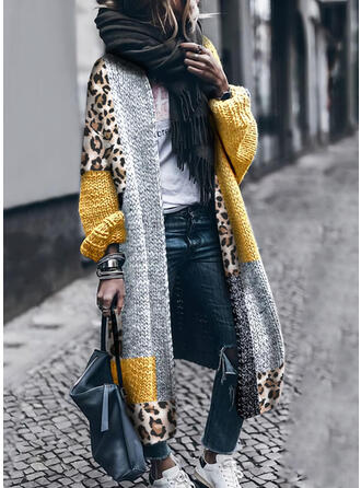 Kleurblok luipaard Casual Lang Vest