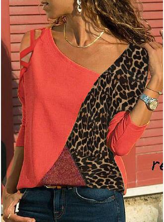 Kleurblok luipaard Cold Shoulder Lange Mouwen Casual Overhemd