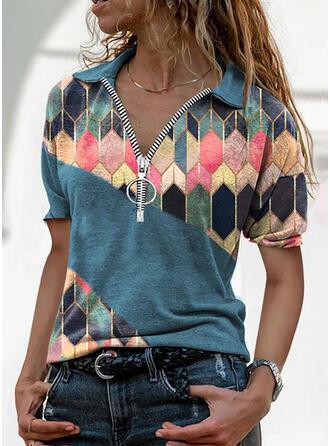 Print Afneembare kraag Korte Mouwen T-shirts