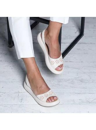 Vrouwen PU Flat Heel Sandalen Flats Peep Toe met Hol-out Dot schoenen