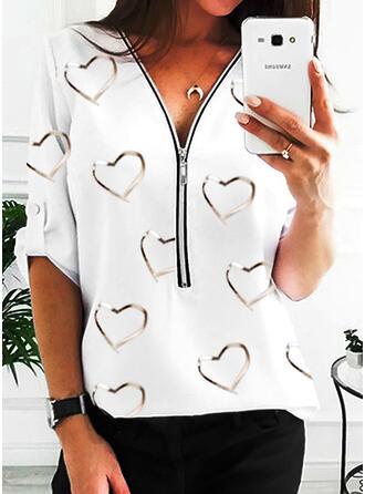 Print V-hals Lange Mouwen Dichtknopen Casual Overhemd