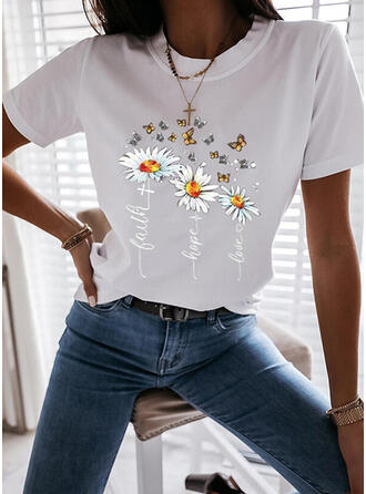 Dier Afdrukken Figuur Bloemen Ronde Hals Korte Mouwen T-shirts