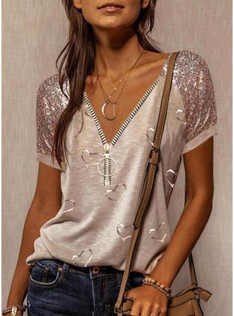 Print Pailletten Hart V-hals Korte Mouwen Casual Overhemd