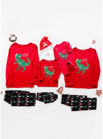 Letter Spotprent Print Voor Gezinnen Kerst Pyjamas