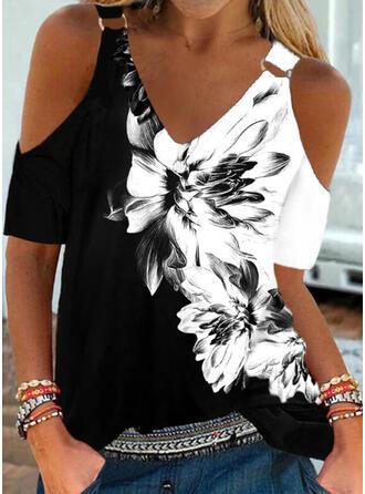Print Kleurblok Bloemen Cold Shoulder Korte Mouwen Casual Overhemd