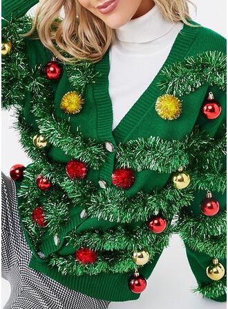 Dames Polyester Effen kleur Lelijke kerstsweater