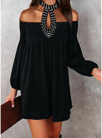 Solide/Met Kralen Lange Mouwen/Lantaarn Mouw Shift Boven de knie Zwart jurkje/Feest/Elegant Jurken