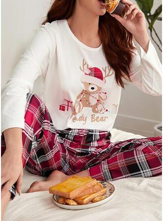Katoenblends Lange Mouwen Plaid Kerstmis Pyjama Set