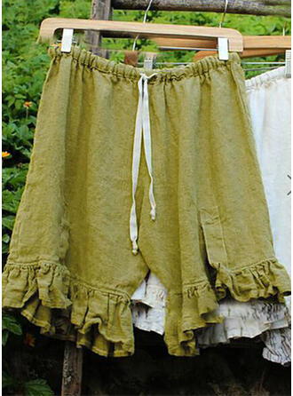 Solide Shirred Grote maat Knielengte Boho Casual Tribal Shorts