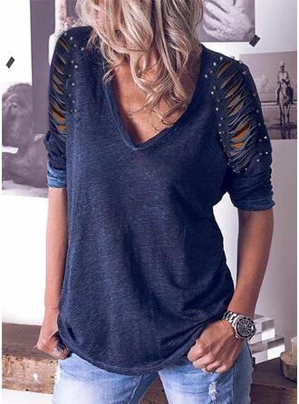 Solide Met Kralen V-hals Lange Mouwen Casual Overhemd