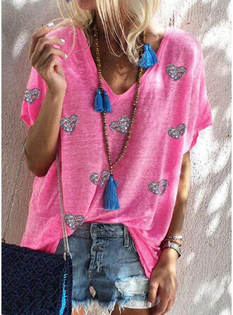 Hart pailletten V-hals Korte Mouwen T-shirts