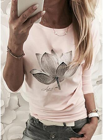 Figuur Bloemen Print Ronde Hals Lange Mouwen T-shirts