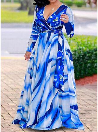 Grote maten Print Lange Mouwen A-lijn-jurk Maximum Casual Vakantie Jurk
