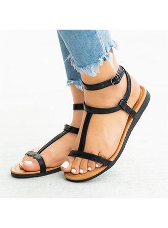 Vrouwen PU Flat Heel Sandalen Peep Toe met Hol-out Verband schoenen