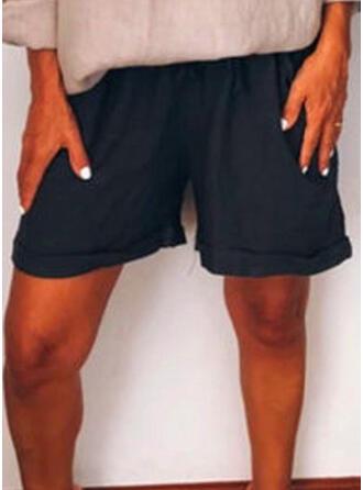 Zakken Shirred Grote maat Boven de knie Boho Casual Shorts
