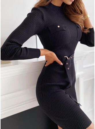 Solide Opstaande Kraag Casual Lang Slanke Sweaterjurk